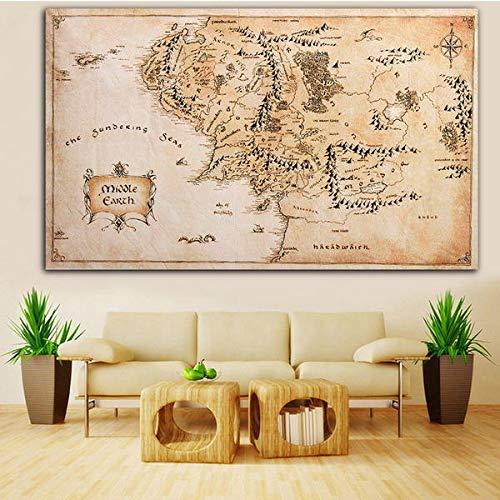 QuickShop Poster en soie Motif carte de la Terre du Milieu des Anneaux 110 x 60 cm
