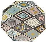 Ombrello manuale a tre pieghe Modello senza cuciture sud-occidentale con cervi Buffalo Nano Ombrello pieghevole a tre ante impermeabile Protezione solare che copre sole e pioggia
