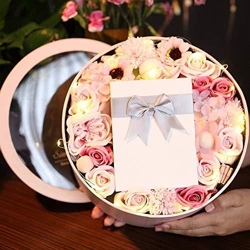 YJYRCYJLH Zeep Bloem Oorbellen Creatieve Geschenkdoos, Verse en Elegante Rozen, Valentijnsdag Moederdag Verjaardag en andere, Roze
