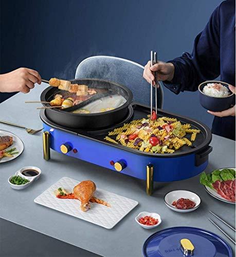 515492ymCOL - KOIUJ Haushalt Multi-Funktions-Grill Bratpfanne Dual Purpose Barbecue Hot Pot EIN Pot Elektro Hot Pot Elektro-Backen-Wannen-Rinse-Wannen-Koch Pan gegrillte Pan-Blau