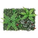 Paneles de Plantas Verdes realistas para Valla de seto Artificial, Valla de privacidad, césped (23.62 x 15.75 Pulgadas) para decoración de Interiores y Exteriores en el Suelo – Helecho y Hojas
