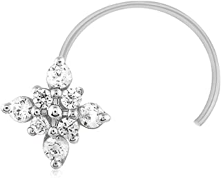 0.10 Ct Round Diamonds Flower Nose Piercing Pin Ring Stud Screw 10k Yellow Gold