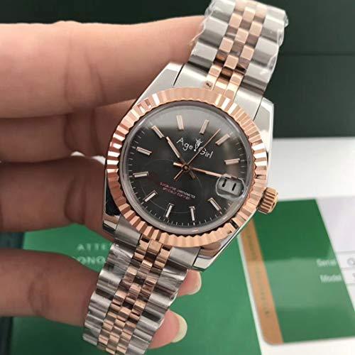 HHBB Marca de lujo acero inoxidable zafiro reloj mujeres señora automática mecánico diamante plata oro rosa negro 31mm dial Aaa+