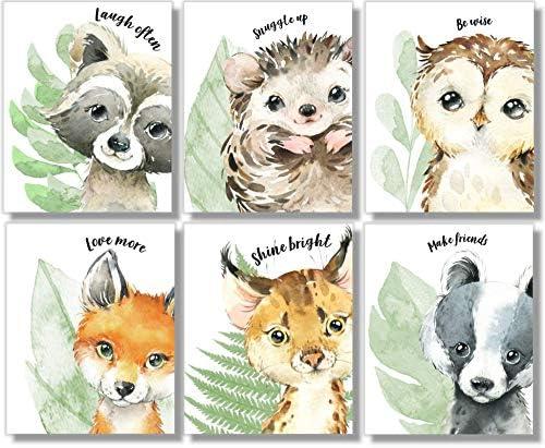 Woodland Animals Wall Art Prints Nursery Decor Set of 6 8x10 Unframed Watercolor product image