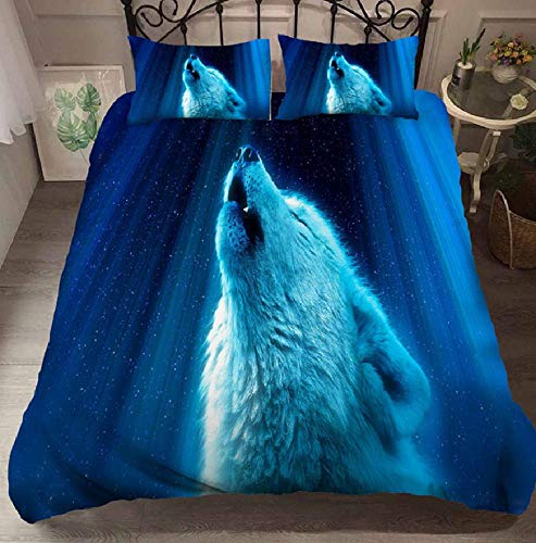 BAIYANG 3D Blue Wolf Animals Bedding Set Quilt Cover Duvet Cover Set Single Queen King Twin Cartoon 2/3 Pcs For Adults Super King(260x220cm)
