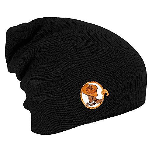 Fan-O-Menal Textilien Longbeanie Slouch-Beanie Wintermütze Cowboystiefel mit Sporen 55325 Farbe schwarz
