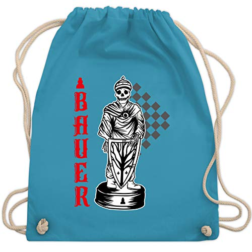 Karneval & Fasching - Schach - Spielfigur - Bauer - Totenkopf - Unisize - Hellblau - Schachfigur - WM110 - Turnbeutel und Stoffbeutel aus Baumwolle