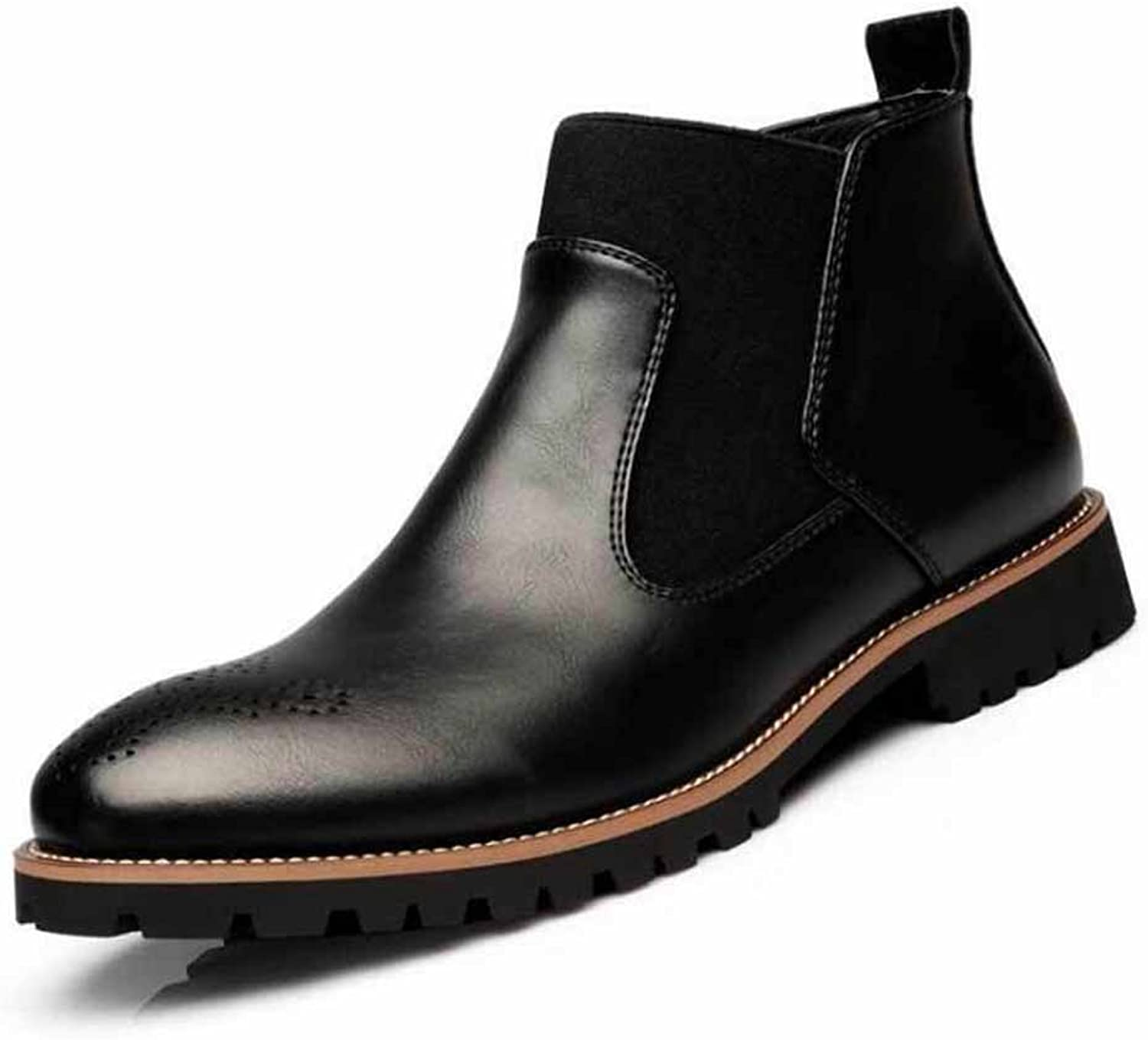 GLSHI Men Casual Chelsea Boots New Comfortable Leather shoes Brogue British Ankle Boots
