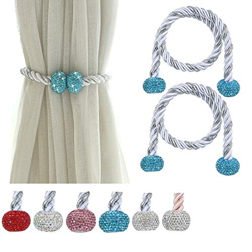 Fashowlife Magnetic Curtain Tiebacks Bling Bling Rhinestone Tie Backs Holders Clips for Home Office Decorative Rope Holdbacks 2 Pack (Blue)
