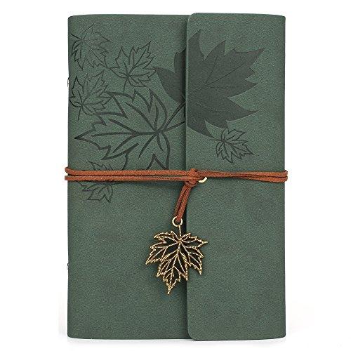 MALEDEN - Cuaderno de cuero para escribir en espiral, con cuadernos de viaje sin forro para niñas y niños