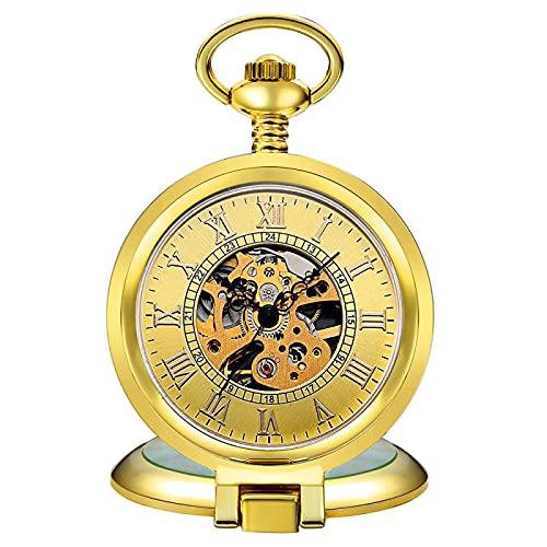 ZIYUYANG Reloj de Bolsillo,Reloj de Bolsillo mecánico Retro para Hombre, Esfera con números Romanos, Steampunk, Cuerda Manual, Regalo para Hombre, Oro