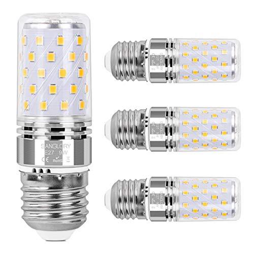 SanGlory E27 LED Mais Glühbirnen, 9W E27 Led Birnen 950LM ersatz 80W Glühlampe, Warmweiß 3000K Energiesparlampe E27 LED Lampe Maiskolben Kleine Kerze Leuchtmittel Nicht Dimmbar, AC175-265V, 4er Pack