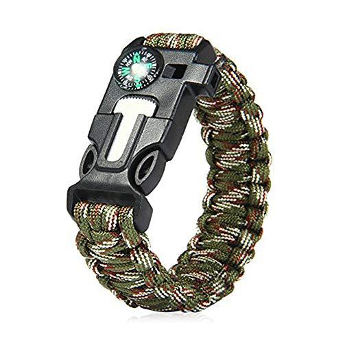 Bryights Survival Armband Regenschirm Seil Armband Outdoor Survival Kompass Pfeife Feuerstein Leben Rettung Armband Taktisches Armband-Armee Grüne Tarnung