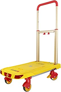 Silent Foldable Trolley, Warehouse Cart Fixed Wheel Folding Cart Factory Cart Size 62 * 37 * 8CM (Color : Yellow, Size : 62 * 37 * 8CM)