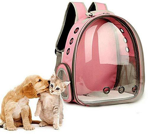 Carolilly Sac à Dos pour Animal Sac de Transport pour Chien et Chat Transpant et Respirant 5 Couleurs de Sac Chat Portable (Rose, 35 * 25 * 42【cm】)
