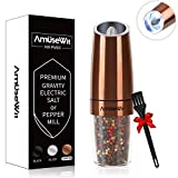 Gravity Electric Pepper Grinder or Salt Grinder Mill - Battery Operated Automatic Pepper Mill with White Light,Adjustable Coarseness,One Handed Operation,Cleaning Brush,Copper by AmuseWit