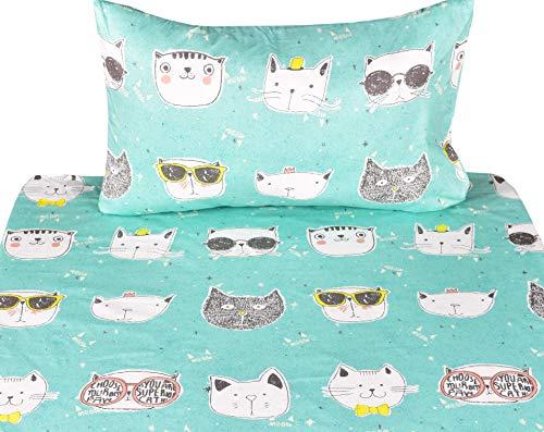 J-pinno Cats Kitty Cute Twin Sheet Set for Kids Girl Children,100% Cotton, Flat Sheet + Fitted Sheet + Pillowcase Bedding Set