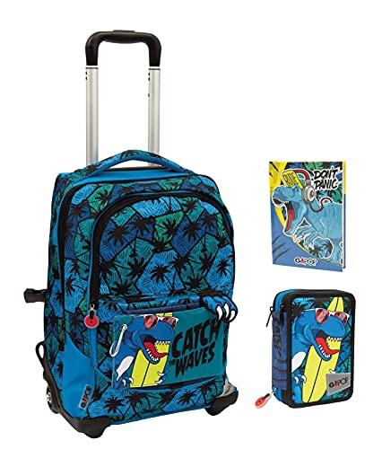 Gopop T Rex - Mochila escolar con ruedas, 5 gráficos, con estuche de 3 pisos + Diario 2021/2022 + 7 bolígrafos borrables con llavero de juego cubo y bolígrafo multicolor perfumado