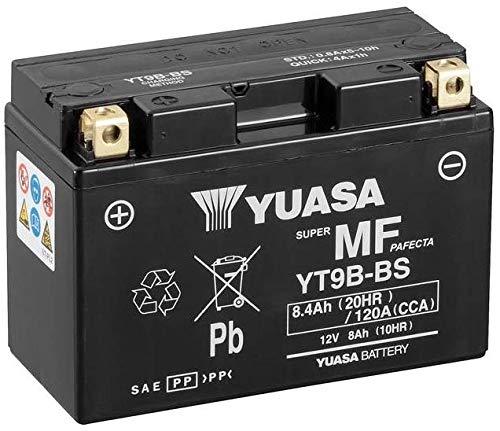 BATTERIA YUASA YT9B-BS PRECARICATA SIGILLATA per Yamaha Majesty 400 04-06 ; T-Max 500 01-07 ; TT RE 600 03-04 ; YZF R6 600 01-06 ; MT-03 660 06- ; XT R/X 660 04- ; YZF R7 750 99-00