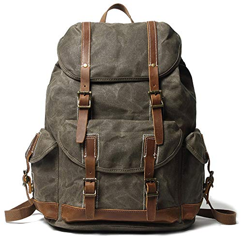 EURYNOME Backpack Waxed Canvas, High Density Thick Canvas Rucksack Genuine Leather Daypack for Travel School (Green)