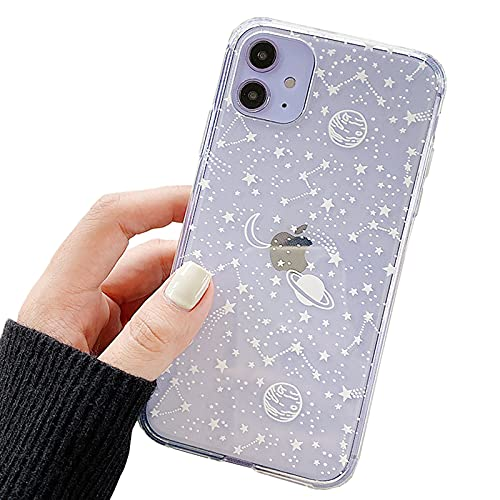 Nititop Compatible with iPhone 12 / iPhone 12 Pro Case,Clear Cute with Beautiful Star Moon Outer Space Planet Patterns for Girls Women, Soft TPU Anti-Scratch for iPhone 12/12 Pro -White Galaxy