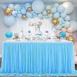 NSSONBEN Falda de mesa de tul azul para decoración de mesa para baby shower, niña, boda, cumpleaños, cumpleaños infantil, comunión (azul, 2 yards)