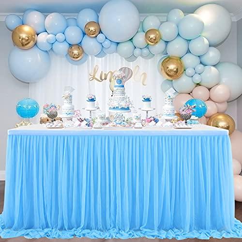 NSSONBEN Falda de mesa de tul azul para decoración de mesa para...