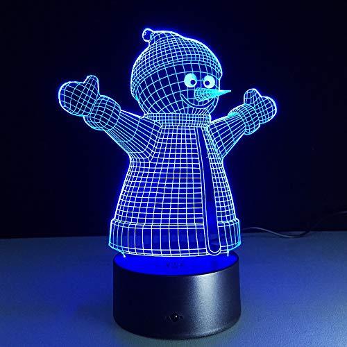 Moda LED muñeco de nieve 3D luz nocturna multicolor lámpara de mesa decoración niños habitación regalo