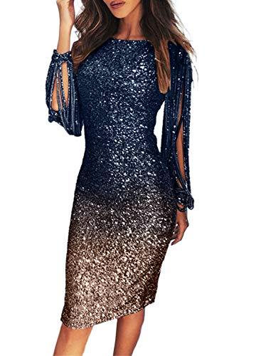 Dearlove Damen Pailletten Glitzer 3/4 Ärmel Kleid Sexy V-Ausschnitt Mini Party Club Bodycon Kleider Gr. 44-46, 528-blau