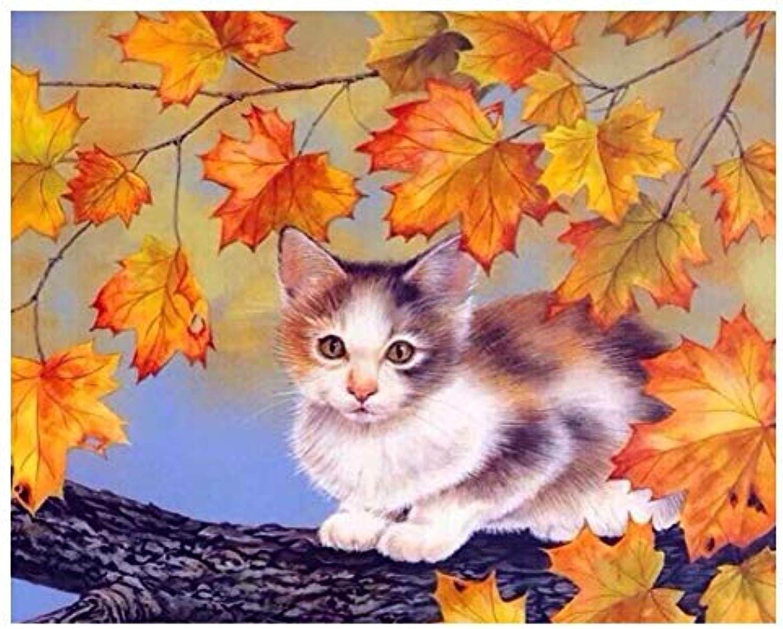 Agolong Ahornblätter Katze DIY Malen Nach Zahlen Kits Tiere Acrylfarbe Einzigartiges Geschenk Für Wohnkultur Wandkunst Nr Mit Rahmen 40x50cm B07MK2S9MZ | Passend In Der Farbe