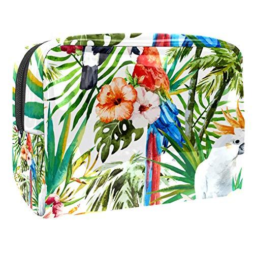 Bolsa de maquillaje portátil con cremallera, bolsa de aseo de viaje para mujeres, práctica bolsa de almacenamiento cosmético, acuarela loro, tucán, pájaros, estampado floral