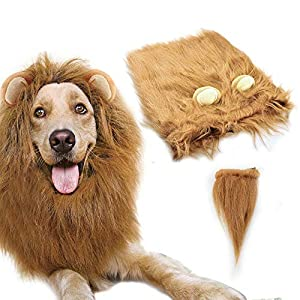 Gimilife Dog Lion Mane, Dog Costume Lion Mane Wig Halloween Costumes for Medium Large Dog with Ears & Tail, Fancy Lion Hair Dog Clothes Holiday Party