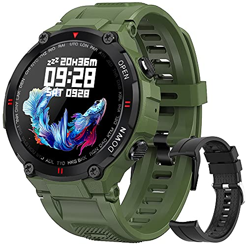 Smartwatch Hombre, Reloj Inteligente Impermeable 68, Monitor de Sueño y Caloría Pulsómetro,Presión Arterial, Podómetro Pulsera Reloj Inteligente para Android iOS (Verde)