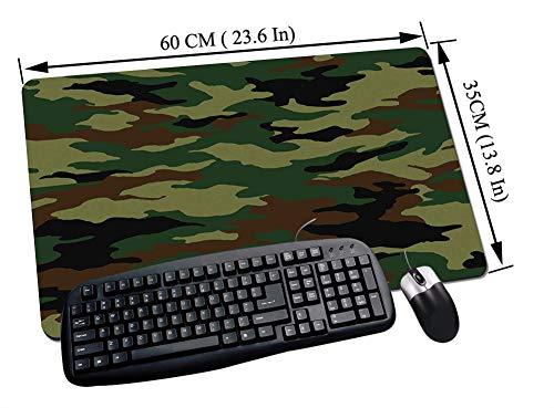 Alfombrilla Raton Gaming,Camo, diseño de ropa de camuflaje inspirado en uniforme gráfico de moda, Forest Green Pa,Impermeable con base de goma antideslizante, PC y laptop comfortable mouse pad60x35 cm