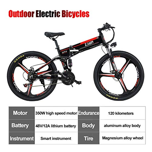 Folding Electric Bike Ebike 48V 10Ah Removable Battery 350W Powerful Motor Electric Bicycle Mountain Bike,for Adult with 48V Lithium-Ion Battery (Black) (Color : Black)
