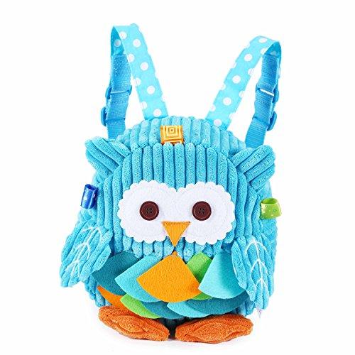Rejolly Toddler Backpack for Baby Girls Boys, Cute 3D Owl Mini Plush Bag, Animal Cartoon Preschool Bookbag for Kids 2-5 Years Blue