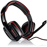 CSL - 7.1 USB Gaming Headset inkl. externer Soundkarte - Virtual 7.1 Surround Sound - PC Komfort Gamingheadset- Kabelfernbedienung - schwarz rot