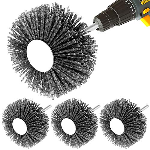 4PCS Abrasive Nylon Wheel Brush, 1/4inch Shank Bristle Grinding Head for Woodwork Polish Grinder, Sanding Flap Wheel for 3D Carving, CNC Cutting on Wood, Metal and Stone Removing Rust and Painting