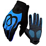 Guantes Ciclismo XYBB Guantes De Ciclismo Full Finger Touch Screen Windproof Silica Gel Antideslizante Hombres Mujeres MTB Road Bike Guantes S Azul