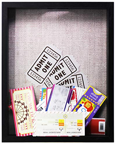 Space Art Deco 11x14 Black Shadow Box Frame - Shadow Box Display Case – Top Loading Wood Frame - Wine/Bottle Caps, Shells, Ticket Stubs Holder,Great for Weddings, Pictures, Mementos (Black)