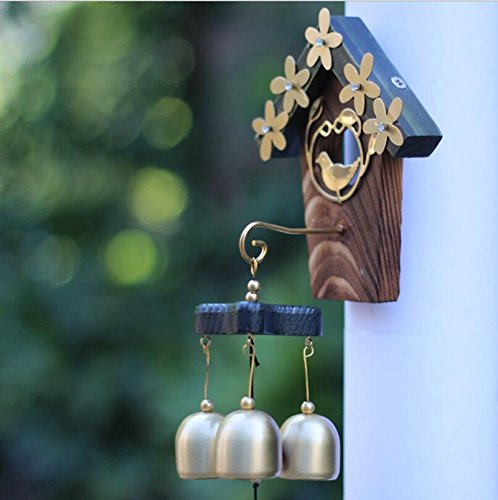 AKDSteel Windspiel, Liebesnest, Windspiel, Ornamente, Metall, Basteln, 3 Glocken für Garten, Innen- und Außenbereich, Terrasse, Rasen, Weihnachten, Halloween, Geschenk