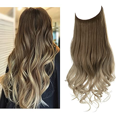 SARLA Ombre Halo Hair Extension Brown to Ash Blonde Adjustable Transparent Wire Headband Wavy Curly Long Synthetic...