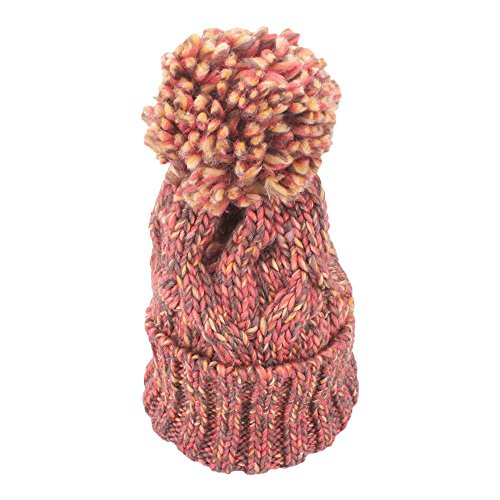 VANKER Hiver Chaud Épais Couleur Mélangée Chapeaux Tricotés Pompon à Crochet Taille Ajustable Bonnet Orange