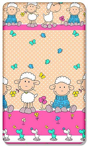 Lenzuolo Con Angoli In 100% Cotone Con Disegno Stampato Per Bambino Junior Letto 160X 70Cm (Pecore Ecru)