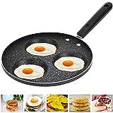 Padella per Uova, Padella Antiaderente Multifunzione in Lega di Alluminio per Cuocere Uova Fritte e in Camicia, Pancake, Bistecca, Fornello a Gas