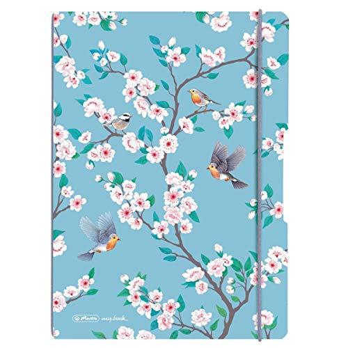 Herlitz 50021543 Notizheft flex A4 Ladylike Birds, 2 x 40 Blatt liniert und kariert, 1 Stück
