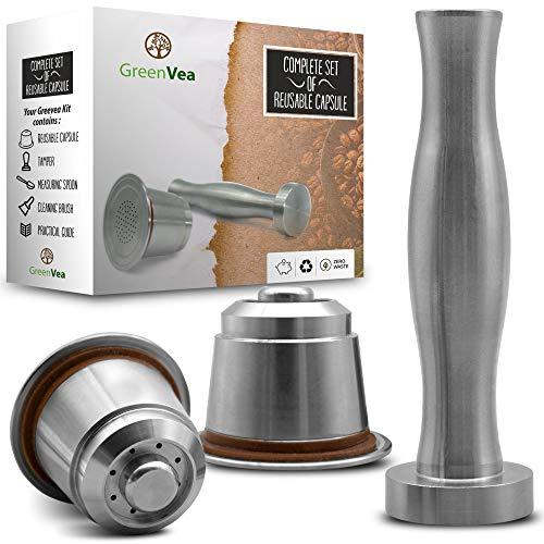 Greenvea - Juego Completo de capsulas de café Nespresso rellenables...
