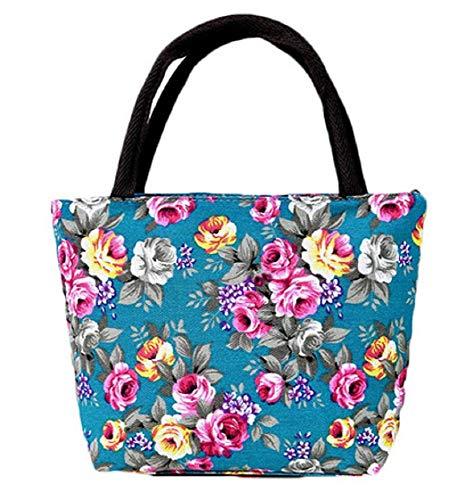 Bolso de mano - tela - flores - rosas - mujer - cierre de cremallera - vintage - retro - romántico - idea de regalo - color turquesa