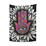 YongColer Hamsa Goddess Hand with Eye Symbol Wall Art Black Tapestry Trippy Hippie Aesthetic Psychedelic Wall Hanging for Bedroom Dorm Decor, 30x40 Small Poster Size