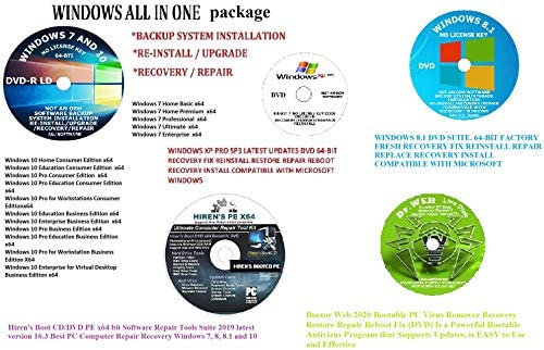 WINDOWS 10 8 1 7 XP PRO and HOME 64 BIT AND HIREN S BOOT CD DVD PE X64 Bit Dr Web SOFTWARE ANTI product image